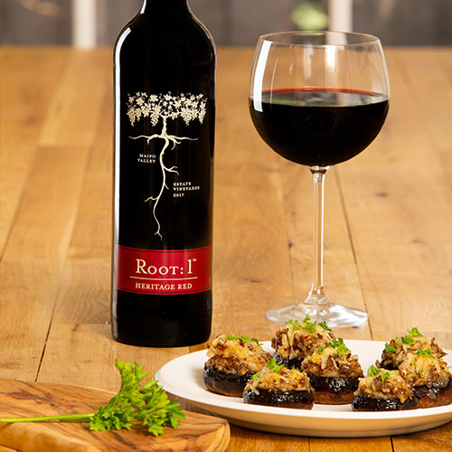 Stuffed mushrooms with Chilean red wine by Root: 1