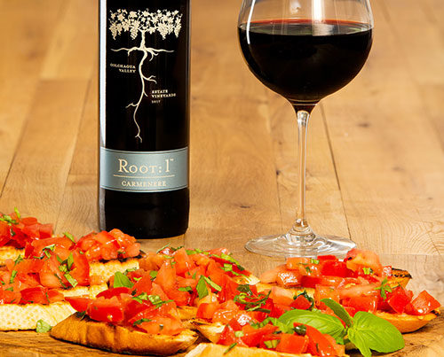 Bruschetta with Chilean Carmenère by Root: 1