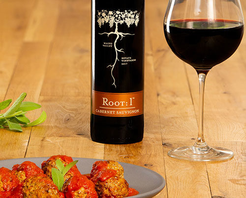 Red sauce meatball with Chilean Cabernet by Root: 1
