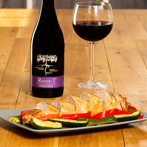 Pork dish with Chilean Pinot Noir by Root: 1