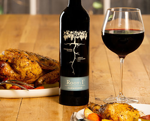 Roasted chicken with Chilean Carmenère by Root: 1